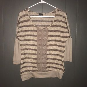 Daytrip brown & tan striped sheer lace accent top